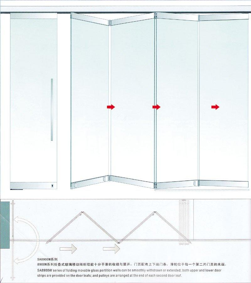 China folding glass walls door glass SAHARA Glass HARDWARE Brand